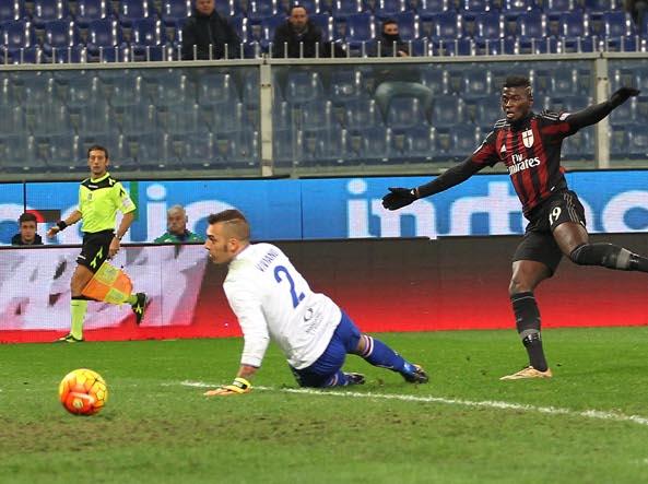 Niang  realizza la prima rete del Milan (LaPresse)