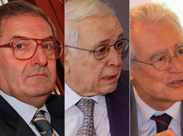 I giuristi Augusto Barbera, Franco Modugno e Giulio Prosperetti (Ansa)