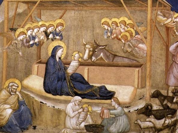 La natività di Cristo dipinta dalla scuola di Giotto nella Basilica di Assisi