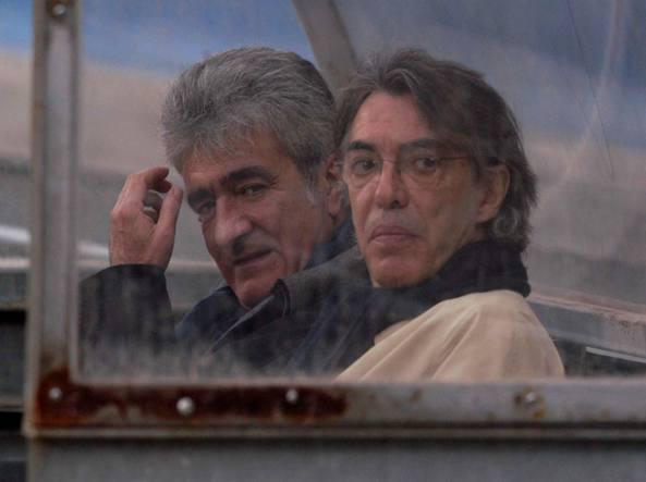 Natalino  e Massimo Moratti in panchina durante la Coppa Uefa 2003/04 (Omega/Ferretti)