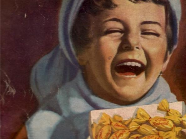 Una pubblicità delle caramelle Ambrosoli degli ani Trenta