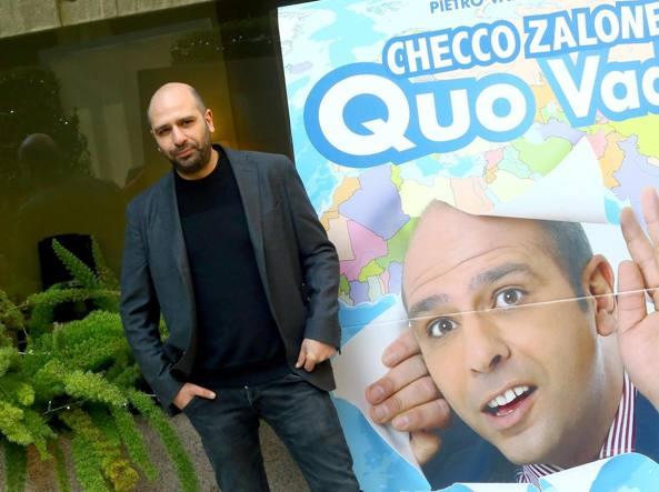 Checco Zalone alla presentazione di «Quo vado» (Ansa)