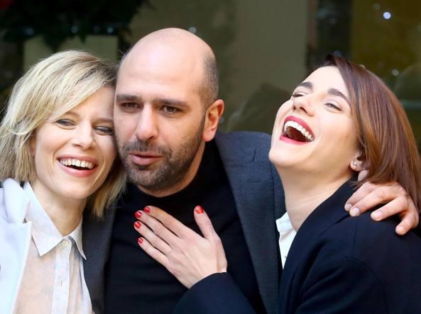 Sonia Bergamasco, Checco Zalone ed Eleonora Giovanardi  (Ansa)