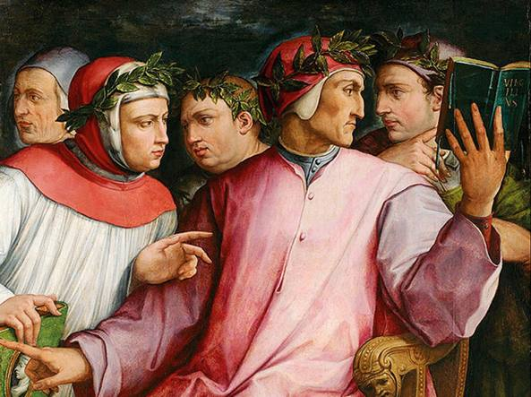 Giorgio Vasari, 1544, Ritratto di sei poeti toscani (da destra: Cavalcanti, Dante, Boccaccio, Petrarca, Cino da Pistoia, Guittone d'Arezzo), Minneapolis Institute of Arts