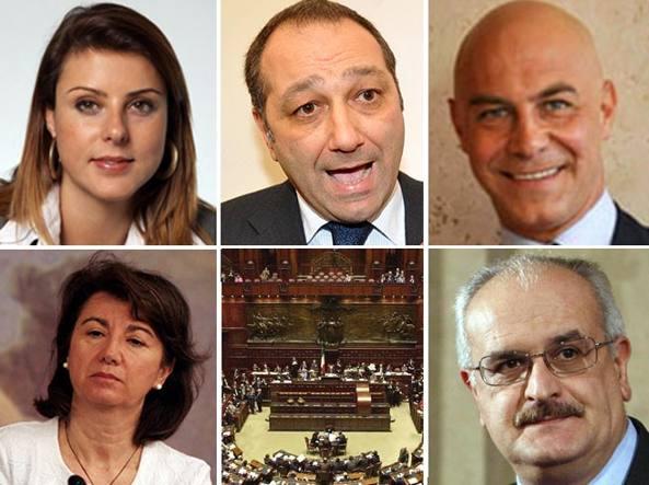 In senso orario: Renata Bueno, Vincenzo Piso, Guglielmo Vaccaro, Nello Formisano, l'emiciclo della Camera e Eugenia Roccella