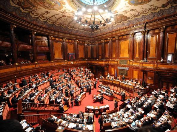 Una veduta dell'emiciclo del Senato (Ansa)
