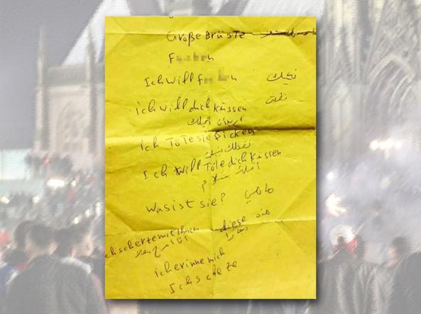 Un foglietto con frasi a sfondo sessuale in arabo e tedesco ritrovato a Colonia