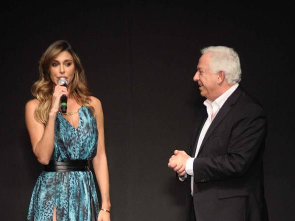 Belen Rodriguez e Paul Marciano al Pitti (Lapresse)