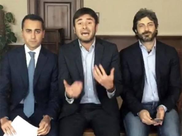 Luigi Di Maio, Alessandro Di Battista e Roberto Fico (Ansa/Facebook)