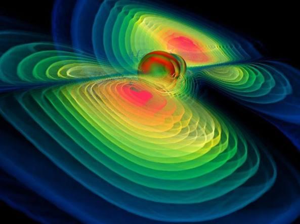 Modello al computer di onde gravitazionali generate dalla collisione di due buchi neri (Max Planck Institute for Gravitational Physics/Benger-Zib)