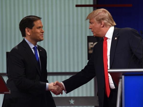 Marco Rubio (a sinistra) e Donald Trump (Afp)
