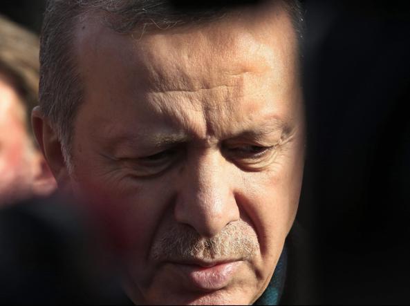Il premier turco Erdogan (Epa)
