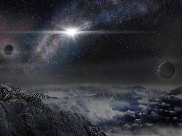 L'esplosione della supernova Asassn-15lh come apparirebbe da un ipotetico esopianeta situato a una distanza di 10 mila anni luce (Jin Ma/Planetario Pechino)
