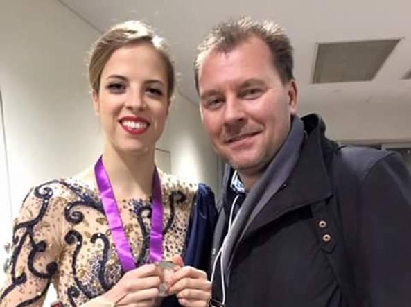 Carolina Kostner con l'allenatore Michael Huth