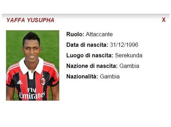 La scheda di Yaffa ai tempi degli Allievi sul sito del Milan (acmilan.com)