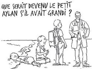 Il testo di Osama Hajjaj dice: «Che cosa sarebbe diventato il piccolo Aylan se fosse cresciuto?»