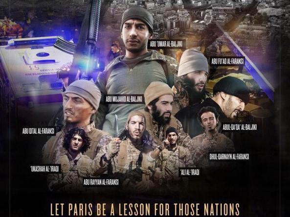 L'immagine contenuta nella rivista Dabiq che mostra i terroristi di Parigi