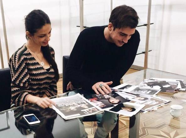 Oscar  con Alessandra Moschillo durante la selezione dei modelli per Richmond