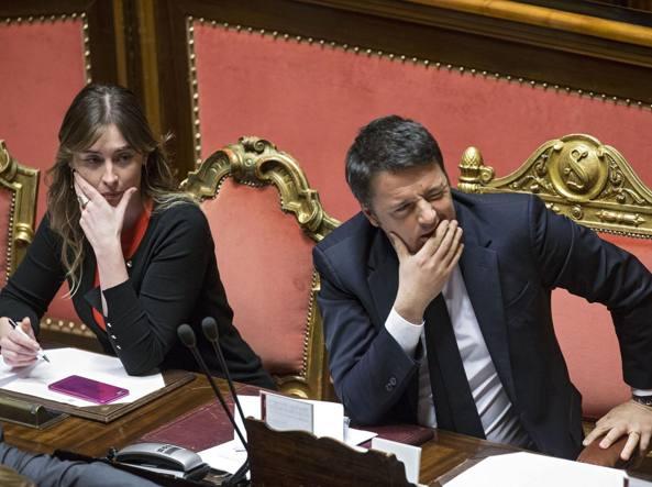 Il premier Matteo Renzi e il ministro delle Riforme, Maria Elena Boschi (Jpeg)