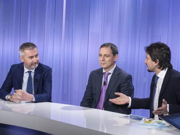 Lorenzo Guerini, a sinistra, con Massimo Parisi e Tommaso Labate