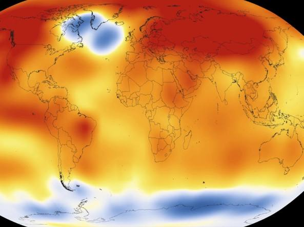 Le temperature del 2015: oltre la media in tutto il mondo eccetto l'Antartide e il nord atlantico occidentale (Afp/Noaa)