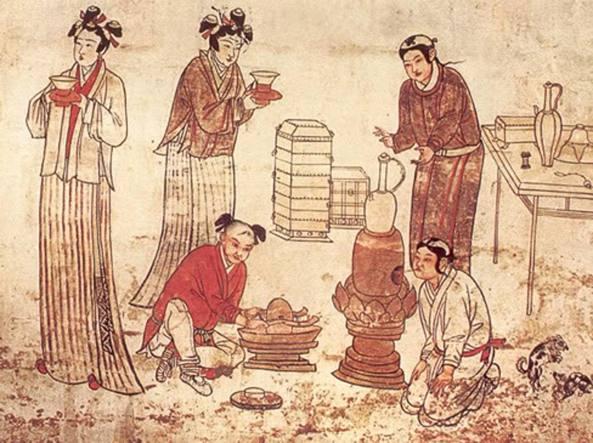 Preparazione del tè in un'antica stampa cinese