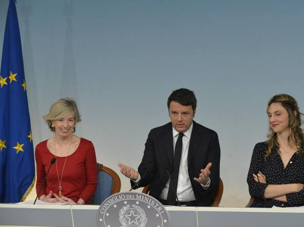 Stefania Giannini, Matteo Renzi, Marianna Madia (Imagoeconomica)