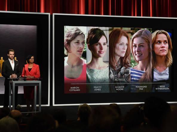 Le cinque candidate all'Oscar di migliore attrice professionista 2015 (Afp/Ralston)