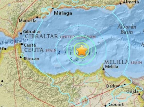 L'epicentro del terremoto registrato alle 5,22 del 25 gennaio al largo del Marocco