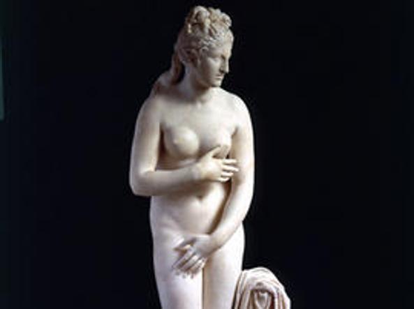 La Venere capitolina, una delle statue coperte in occasione dell'arrivo di Rouhani (foto Musei Capitolini)