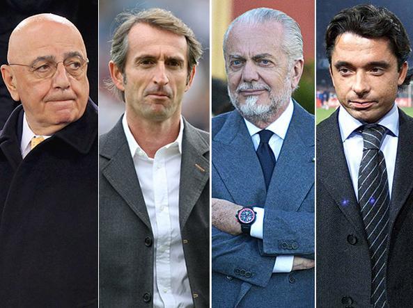 Adriano Galliani, Jean-Claude Blanc, Aurelio De Laurentiis e Alessandro Moggi