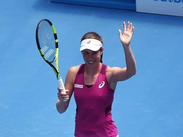 Johanna Konta esulta alla fine della sfida contro Zhang: è la prima britannica in semifinale di uno Slam dal 1983. Al Regno Unito non riusciva un'accoppiata dal 1977 (Epa/Castro)