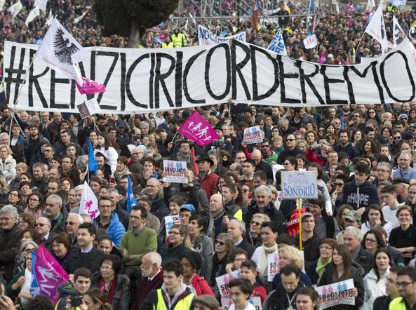 Un gruppo di manifestanti al Circo Massimo (Ansa)