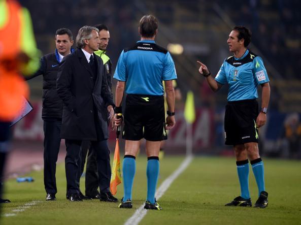 Bologna-Inter 0-1: Mancini protesta per l'espulsione di Felipe Melo (Getty)