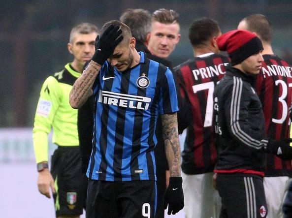 Icardi al fischio finale di Milan-Inter (Ansa/Bazzi)