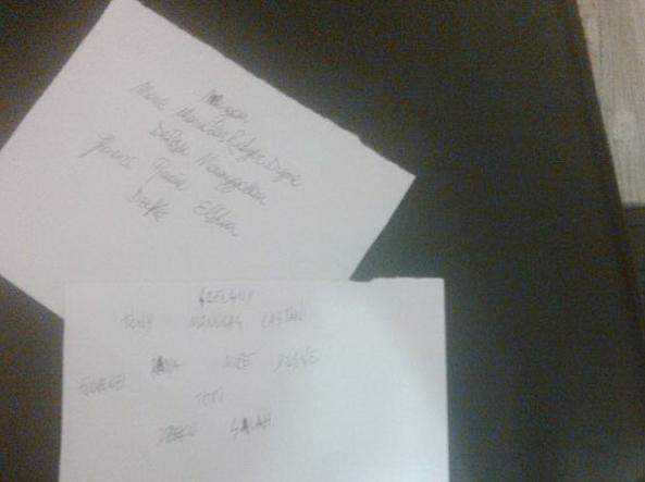 Due dei bigliettini scritti dai giocatori e consegnati a Spalletti