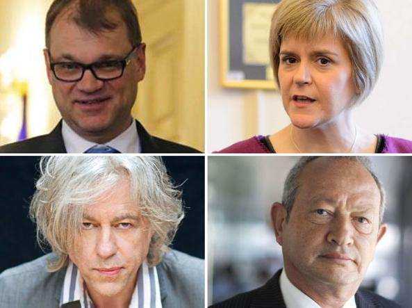 Dall'alto a sinistra,  il premier finlandese Juha Sipila, la «prima ministra» scozzese Nicola Sturgeon, la rockstar  Bob Geldof e  il miliardario greco Naguib Sawiris