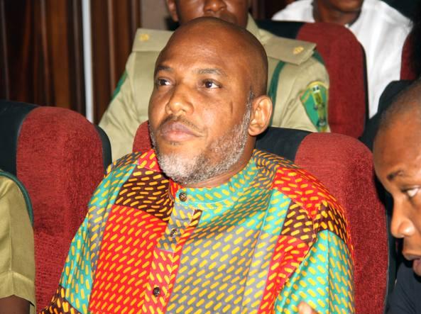 Il leader dei separatisti del Biafra,  Nnamdi Kanu, nell'alta corte di Abuja, in Nigeria, il 29 gennaio scorso  (Ap)