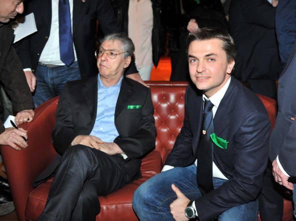 Edoardo Rixi con Umberto Bossi (Imago)