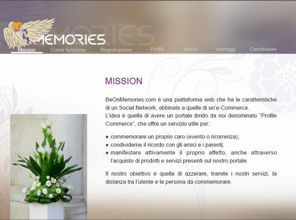 Come sarà l'home page del portale BeOnMemories.com