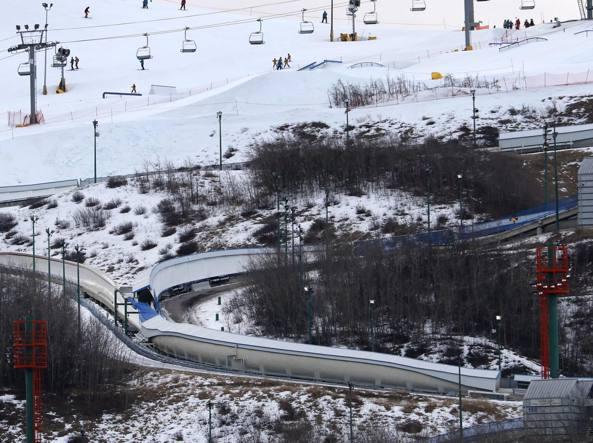 La pista per slittini di Calgary, in Canada (Ap)
