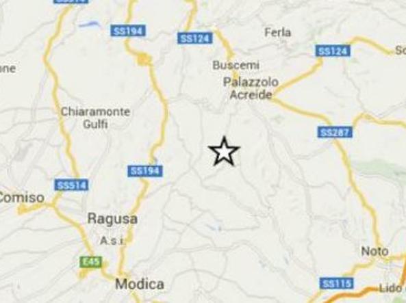 Con la stella l'area dell'epicentro