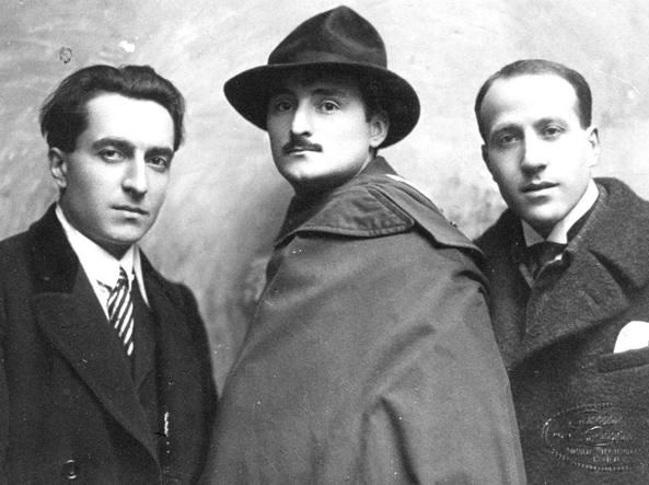 Clemente Rebora (il primo da sinistra), Bruno Furlotti, Michele Cascella