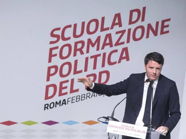 Matteo Renzi durante un intervento alla Scuola di formazione politica del Pd (Jpeg)