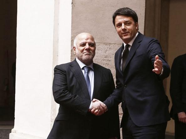 Il premier Renzi con il primo ministro dell'Iraq, Haydar Al Abadi (Ansa)