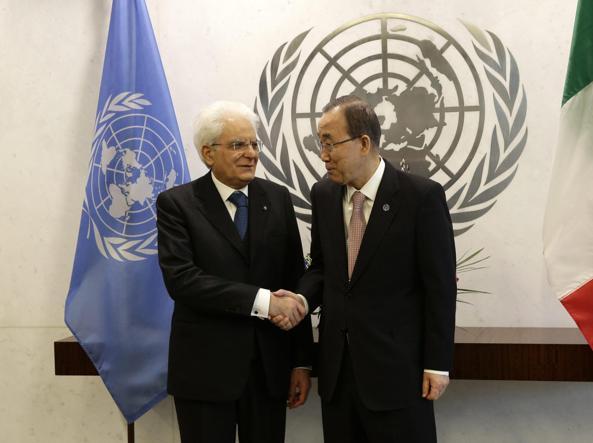 Il presidente Mattarella e il Segretario Generale delle Nazioni Uniti Ban Ki-moon  (Epa)