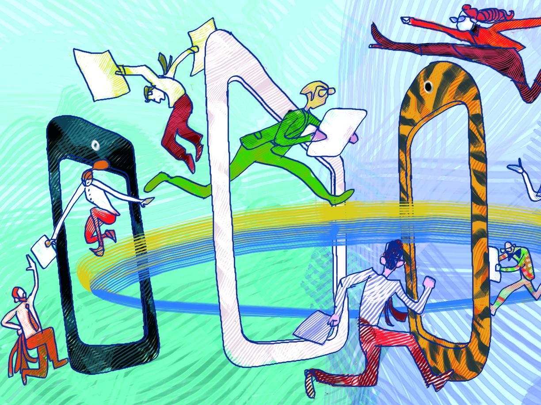 Il giornale  di carta, i nuovi supporti digitali, le nuove frontiere dell'informazione in un disegno di Giancarlo Caligaris