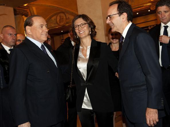 Stefano Parisi con Silvio Berlusconi e Mariastella Gelmini  al Westin Palace Hotel di  Milano il 12 febbraio per la cena di finanziamento della campagna elettorale del city manager (Quattrone)