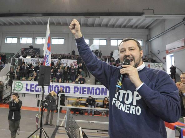 Matteo Salvini domenica a Collegno, nel Torinese (Cavicchi)