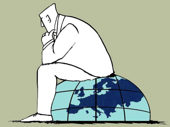 I dubbi e le difficolt� che in questa fase storica tormentano l'Europa in un disegno di Doriano Solinas